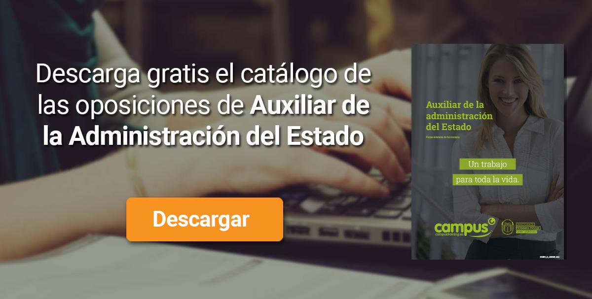 Descarga el catálogo para el curso: Oposiciones a Auxiliar de la Administración del Estado 2020