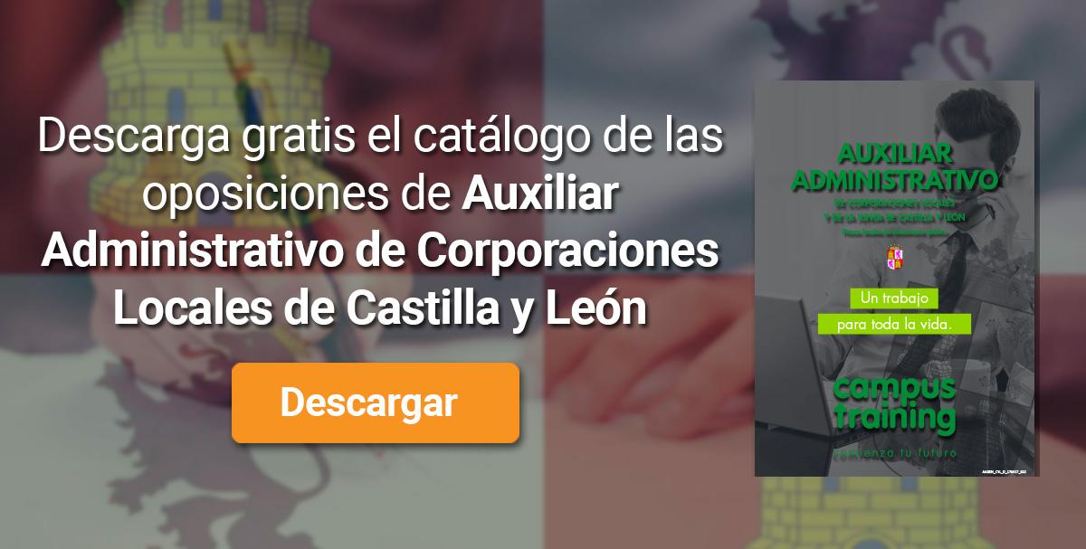 Descarga el catálogo para el curso: Oposiciones para Auxiliar Administrativo de Corporaciones Locales en Castilla y León