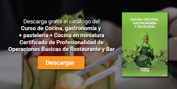 Descarga el catálogo para el curso: Curso de Cocina, gastronomía y pastelería + Cocina en miniatura + Certificado de Profesionalidad de Operaciones Básicas de Restaurante y Bar