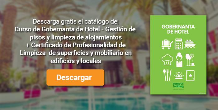 Descarga el catálogo para el curso: Gobernanta de Hotel – Gestión de pisos y limpieza de alojamientos + Certificado de Profesionalidad de Limpieza de superficies y mobiliario en edificios y locales