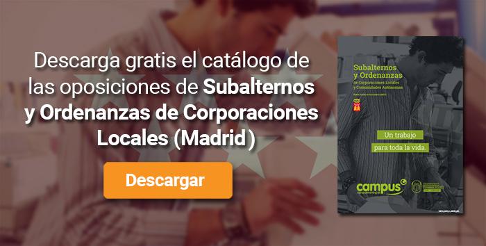 Descarga el catálogo para el curso: Oposiciones para Subalterno y Ordenanzas en Corporaciones Locales de Madrid