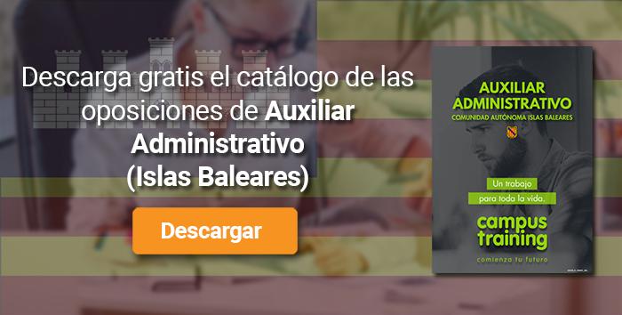 Descarga el catálogo para el curso: Oposiciones a Auxiliar Administrativo Islas Baleares