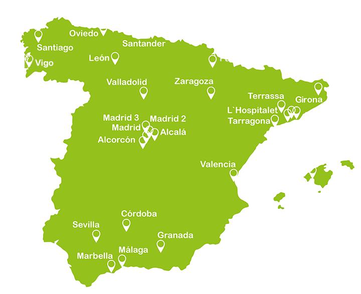 Mapa centros Campus Training